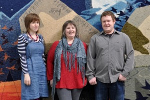 Jo, Leila and Andrew Thomson, Hoxa Tapestry Gallery, Orkney