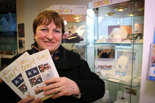 Heather Croy, chair of Orkney Crafts Association, pictured with the 2016 Orkney Craft Trail brochure.
