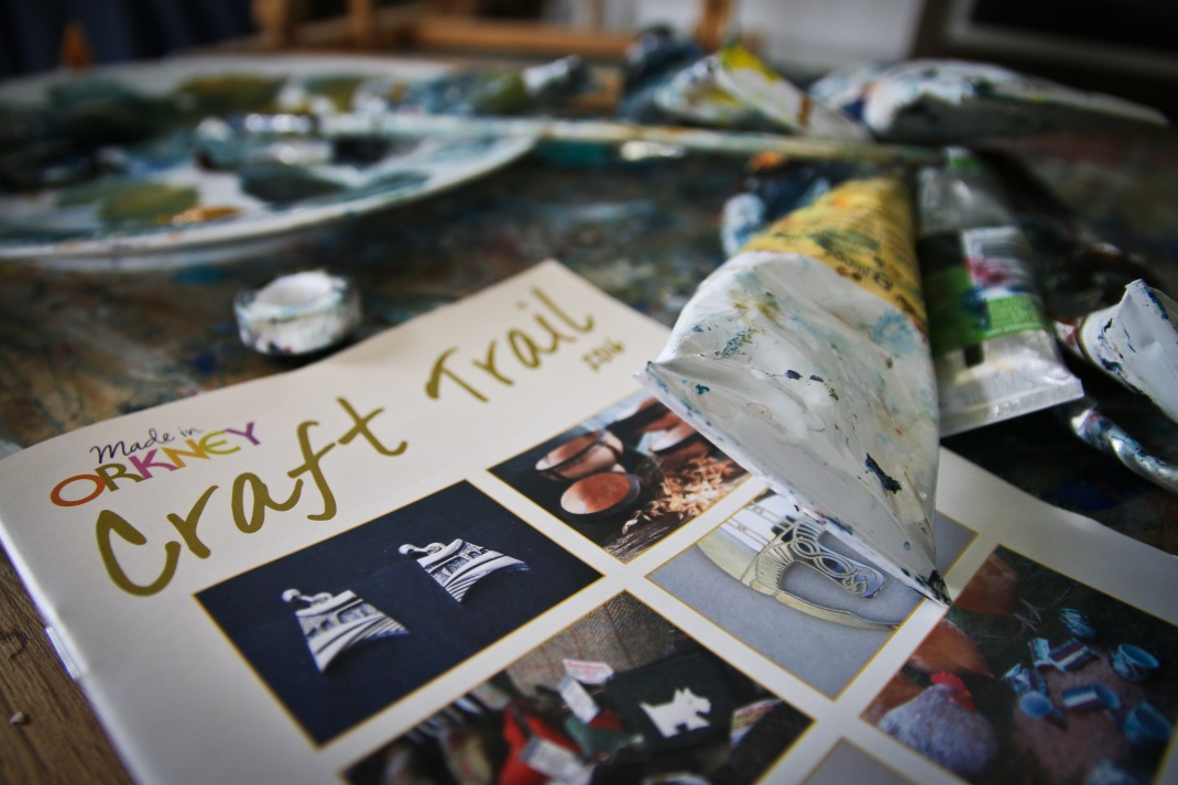 Orkney Craft Trail brochure 2016, pictured in the studio of OCA member, artist Ingrid Grieve.
