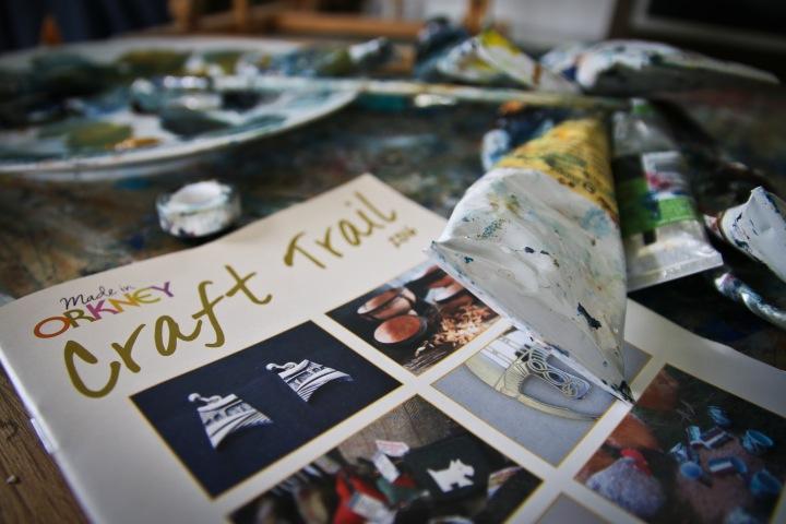 Orkney Craft Trail brochure 2016, pictured in the studio of OCA member, artist Ingrid Grieve.