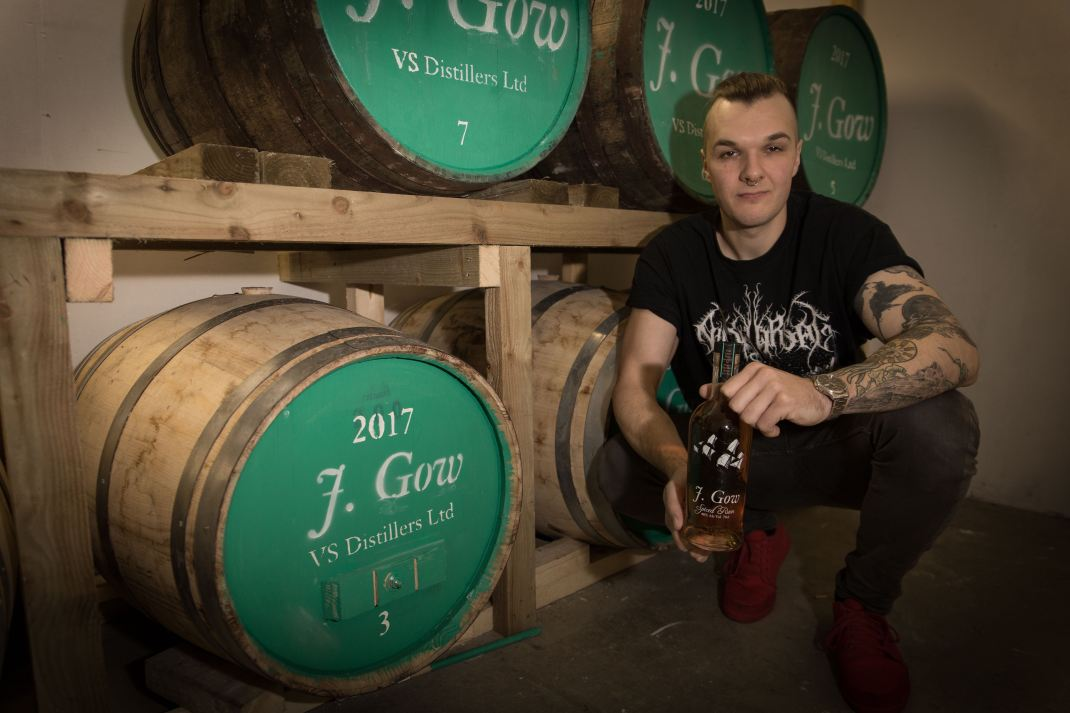 Collin van Schayk of VS Distillers, pictured with his new J. Gow rum. Image by Fionn McArthur, Orkney.com