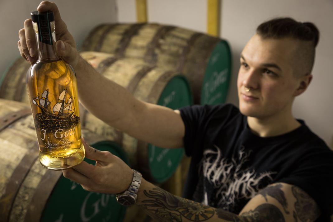 J. Gow rum, with its creator, Collin van Schayk of VS Distillers. Image by Fionn McArthur, Orkney.com