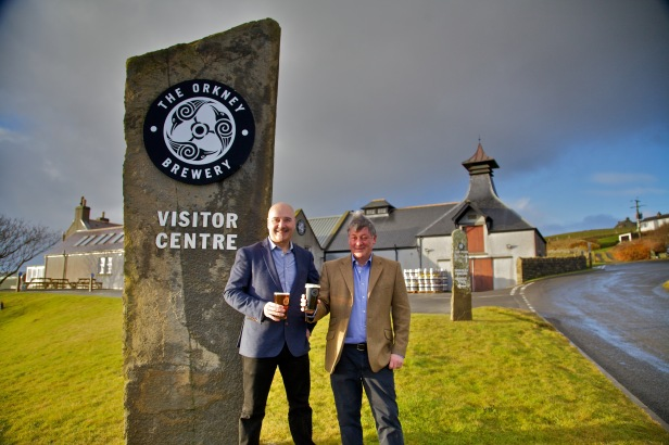 Craig Steven (left), the new commercial manager of Sinclair Breweries Ltd, pictured with the company's managing director, Norman Sinclair, outside the Orkney Brewery. Image by Colin Keld