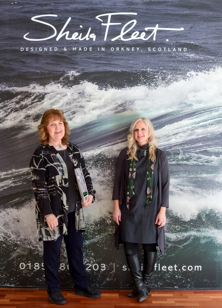 Sheila Fleet (left) pictured outside her new Princes Square premises, with the shop's interior designer, Marion Yorston. Image by Julie Howden.